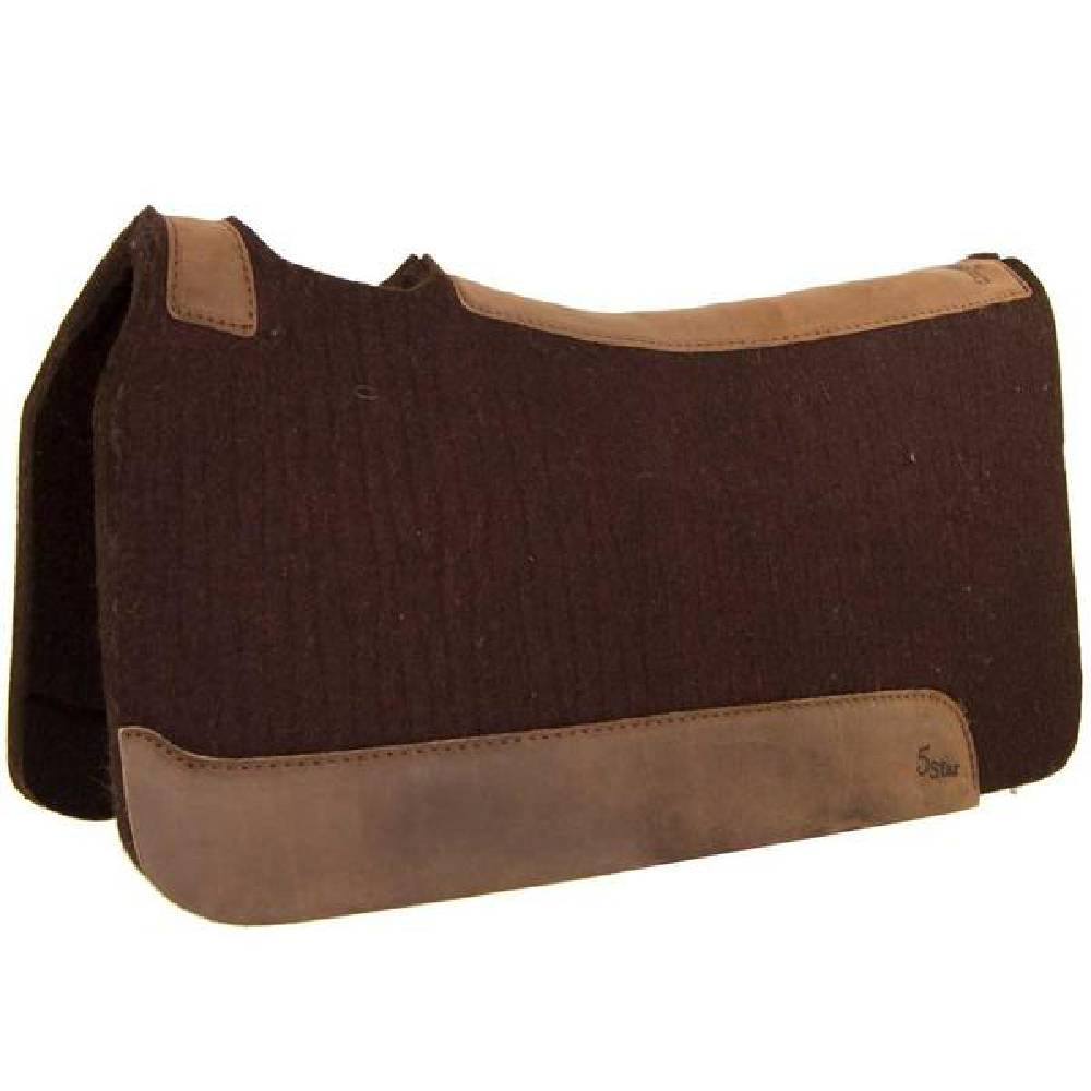 "5 Star 1"" Chocolate Wool Pad Tack - Saddle Pads 5 Star Teskeys"