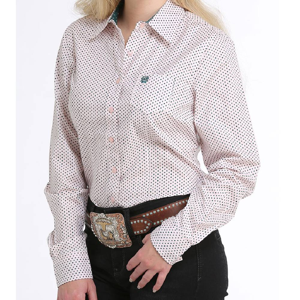 Cinch Ladies Polka Dot Button Up Shirt WOMEN - Clothing - Tops - Long Sleeved CINCH Teskeys