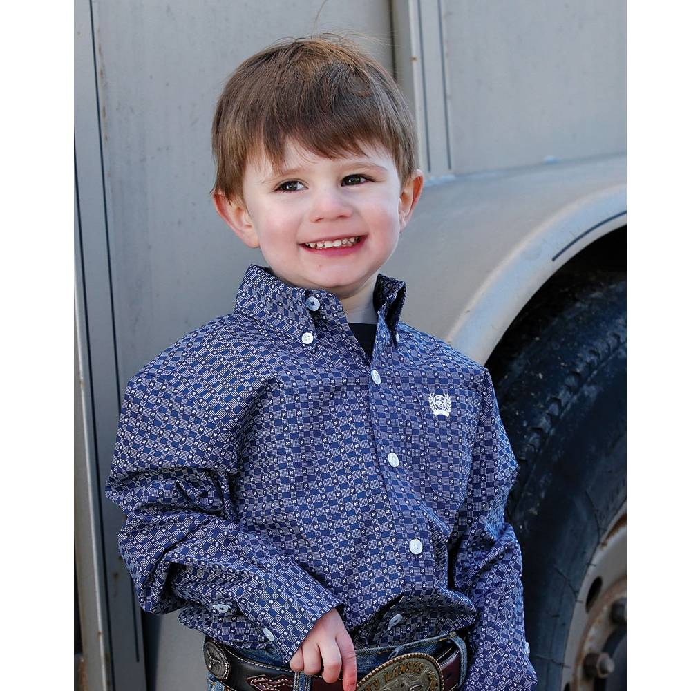 Cinch Infant Boys' Blue Geo Print Long Sleeve Western Shirt