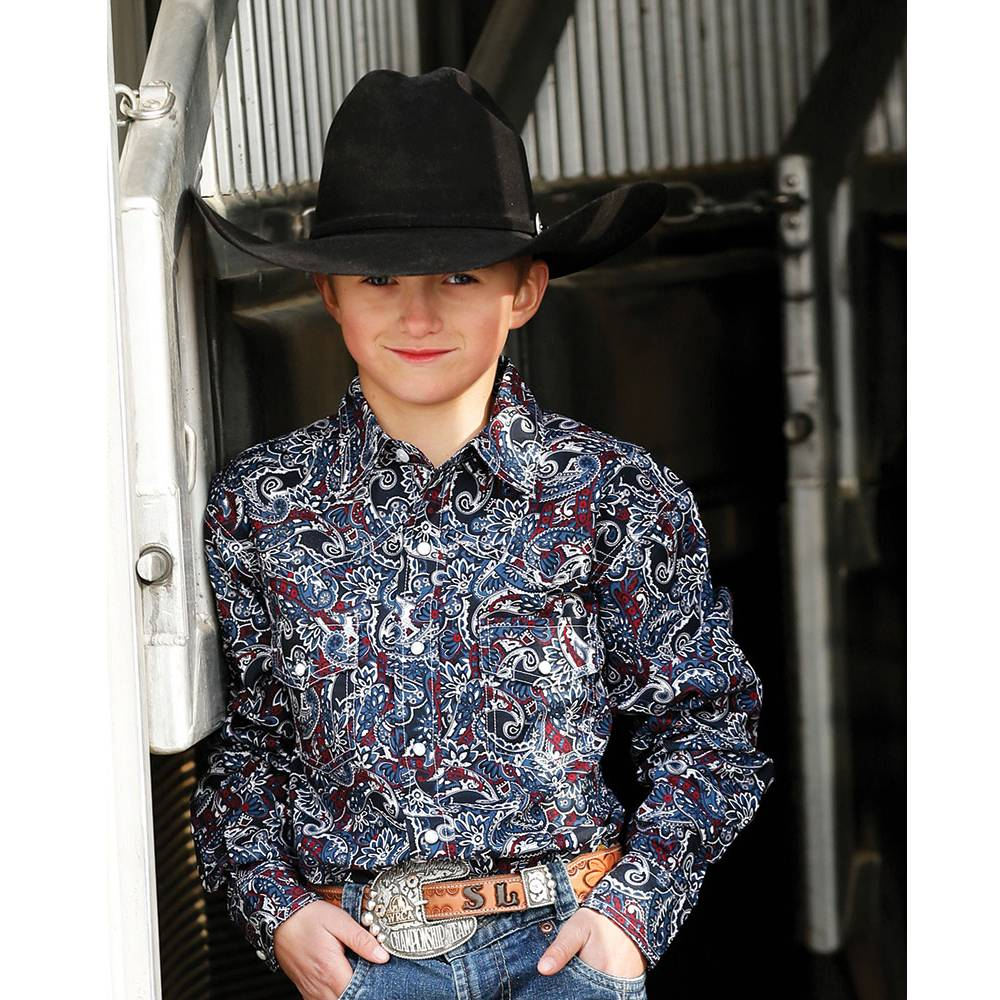 Cinch Boys Print Snap Front Long Sleeve Western Shirt