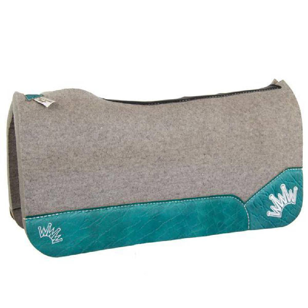 Best Ever Kush Collection Wool Saddle Pad with Turquoise Leather Tack - Saddle Pads Best Ever Teskeys
