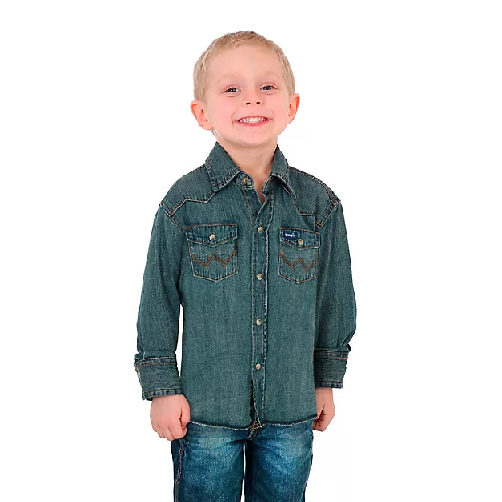 Boy's Cowboy Cut Western Work Denim Snap Shirt KIDS - Boys - Clothing - Shirts - Long Sleeve Shirts WRANGLER Teskeys