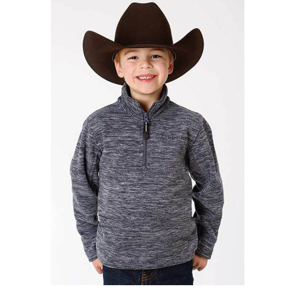 Roper Boys' Blue Bonded Fleece Lightweight Pullover Jacket KIDS - Boys - Clothing - Outerwear - Jackets ROPER APPAREL & FOOTWEAR Teskeys