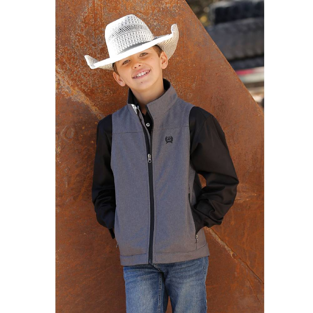 Boys Textured Bonded  Gray Vest KIDS - Boys - Clothing - Outerwear - Vests CINCH Teskeys