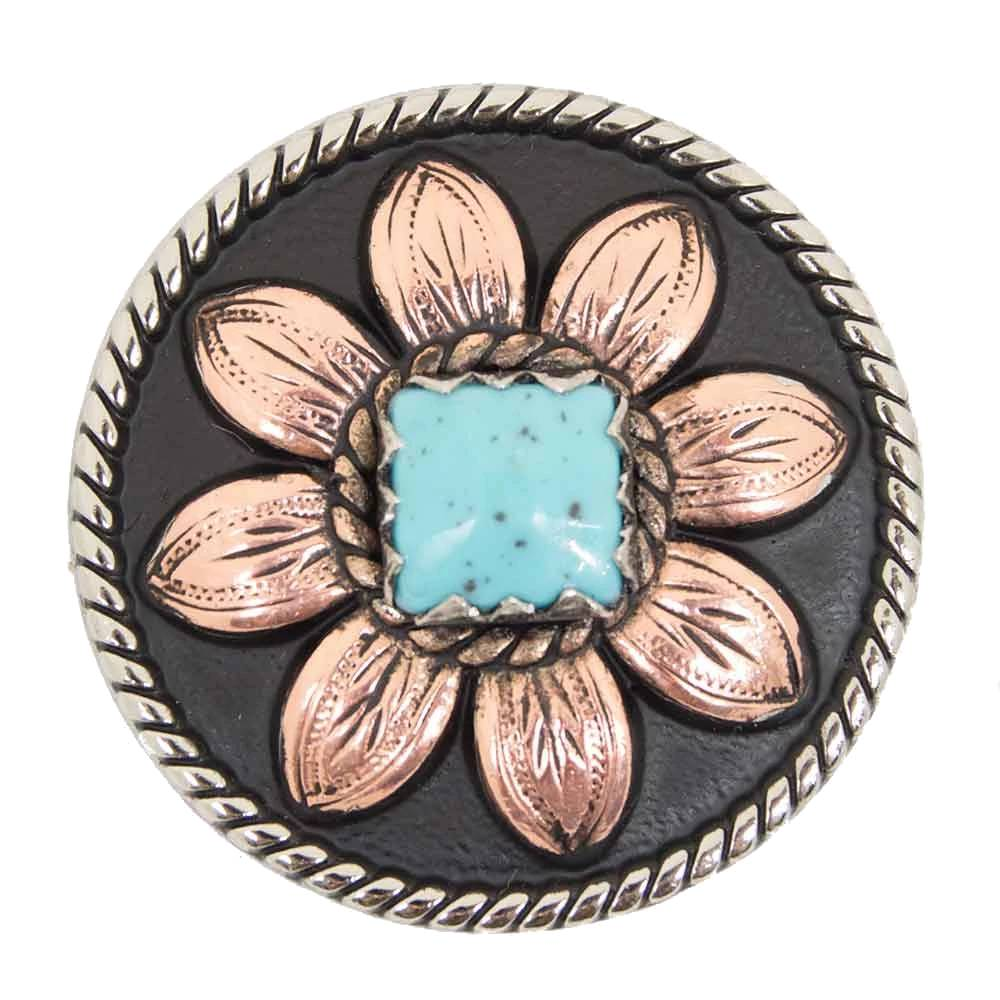 Copper Sunflower Concho with Turquoise Stone Tack - Conchos & Hardware - Conchos Teskeys Teskeys