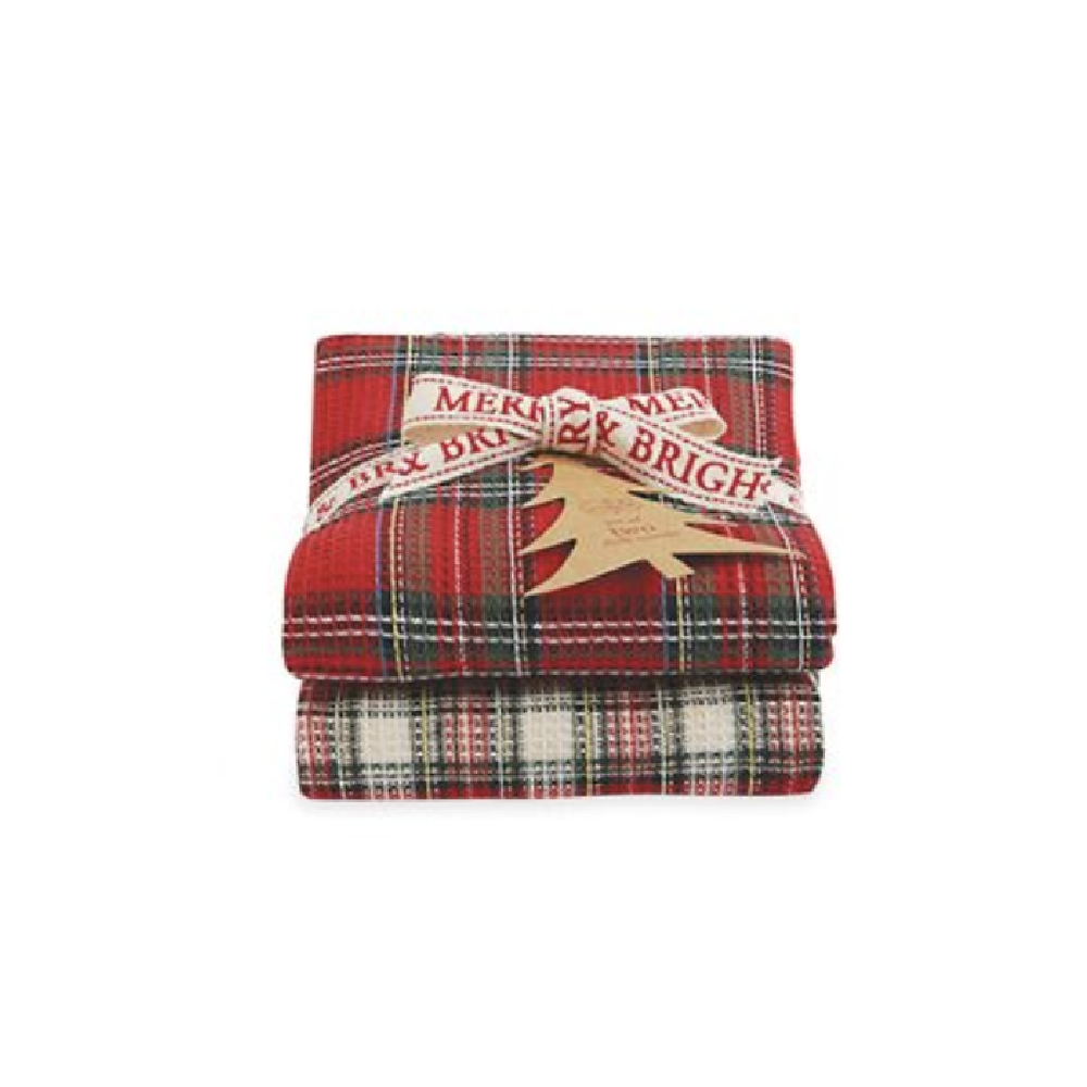 Tartan Waffle Weave Towel Set HOME & GIFTS - Home Decor - Seasonal Decor Mud Pie Teskeys