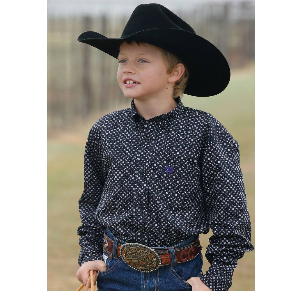 Cinch Boy's Black Long Sleeve with Purple Dots KIDS - Boys - Clothing - Shirts - Long Sleeve Shirts CINCH Teskeys