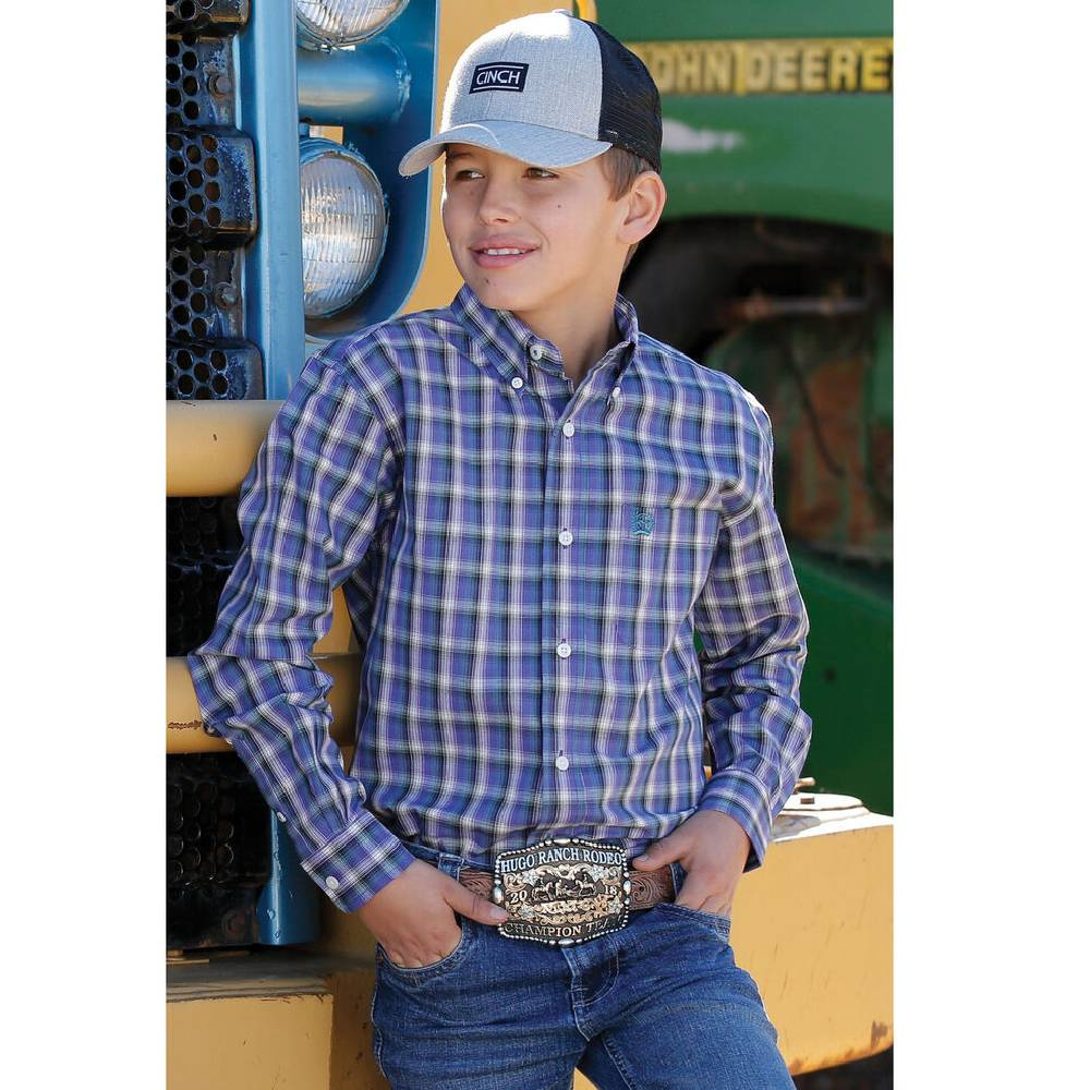 Cinch Boys' Purple Plaid Long Sleeve Western Shirt KIDS - Boys - Clothing - Shirts - Long Sleeve Shirts CINCH Teskeys