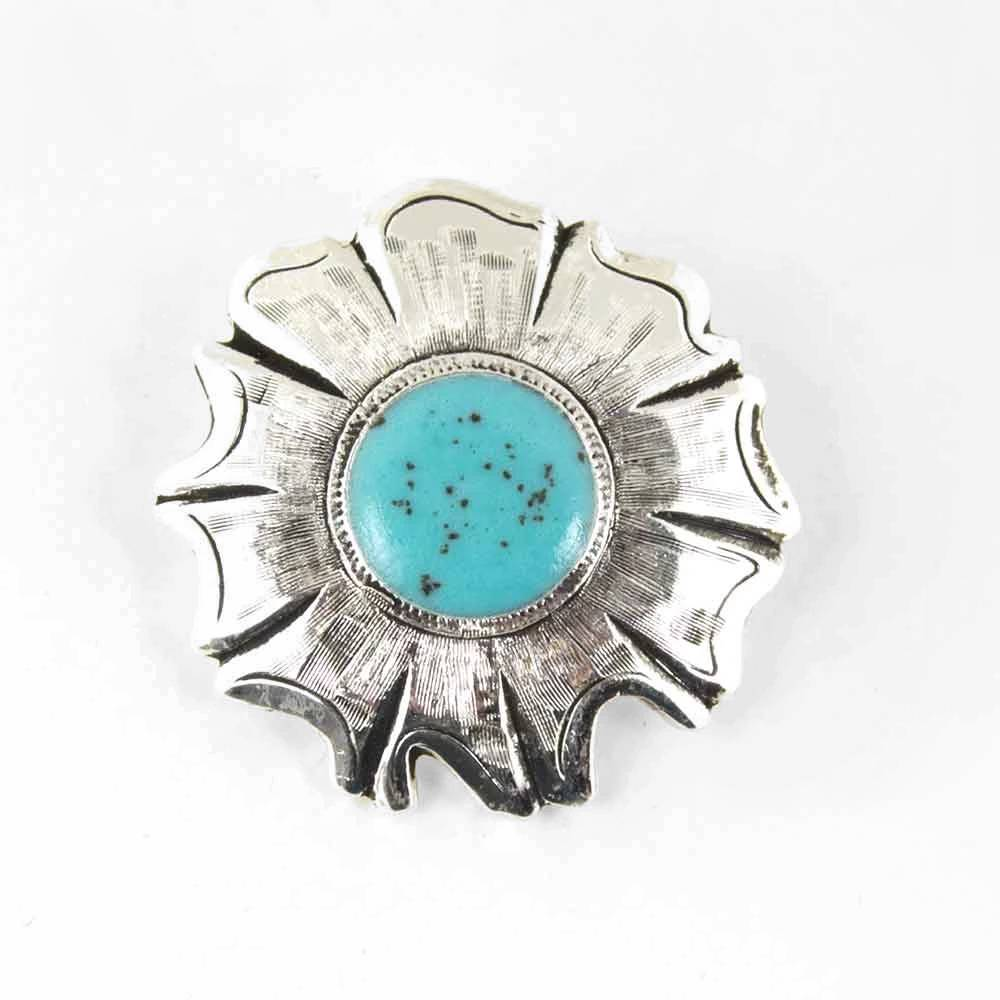 Silver and Turquoise Primrose Concho