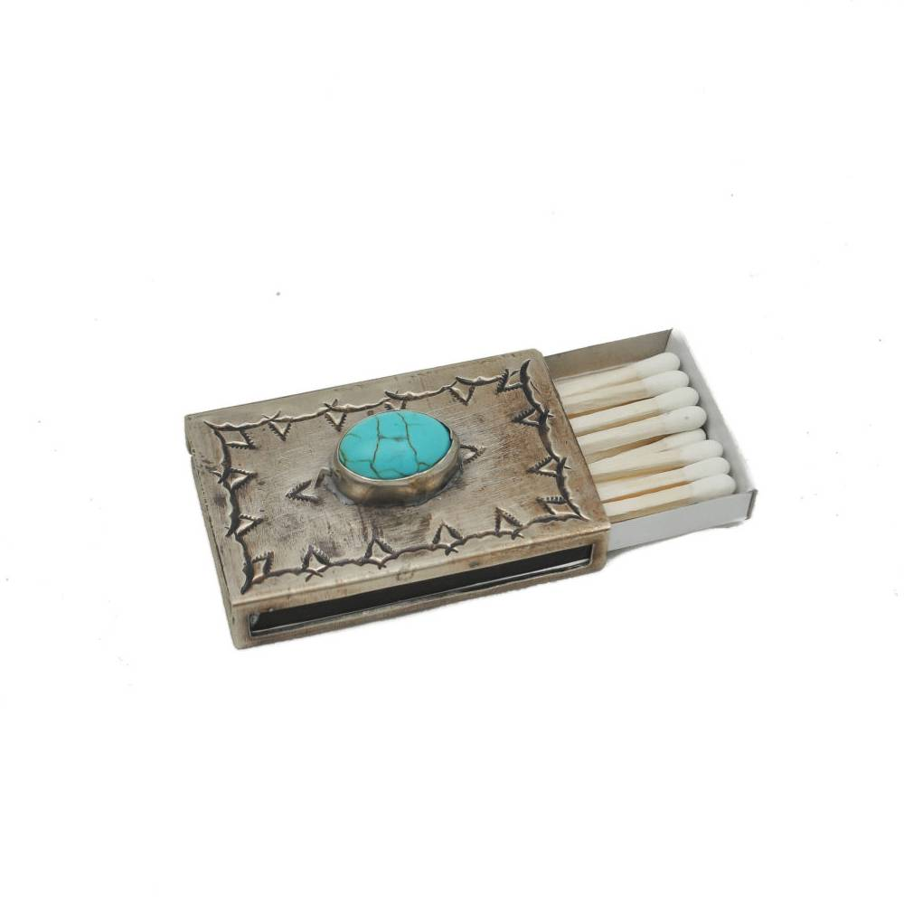 J. Alexander Small Stamped Matchbox Cover W/ Turquoise HOME & GIFTS - Home Decor - Decorative Accents J. ALEXANDER RUSTIC SILVER Teskeys