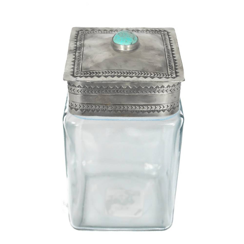 J. Alexander Medium Glass Canister W/ Stamped Lid HOME & GIFTS - Home Decor - Decorative Accents J. ALEXANDER RUSTIC SILVER Teskeys