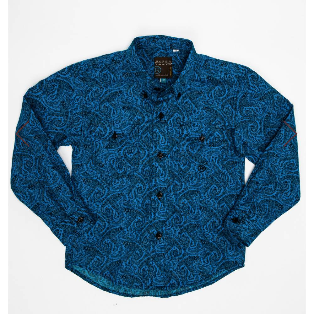Roper Boys Paisley Button Down Shirt KIDS - Boys - Clothing - Shirts - Long Sleeve Shirts ROPER APPAREL & FOOTWEAR Teskeys