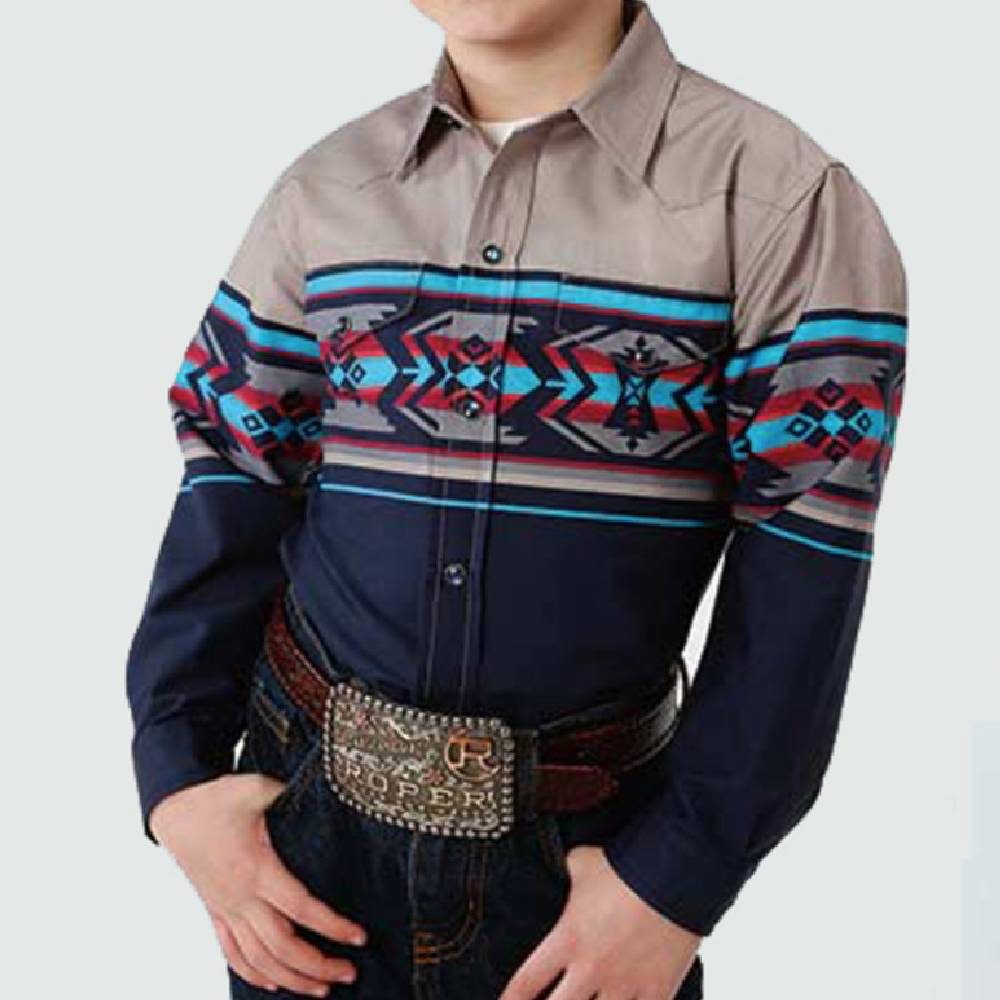 Roper Boys Print Snap Up Shirt KIDS - Boys - Clothing - Shirts - Long Sleeve Shirts ROPER APPAREL & FOOTWEAR Teskeys