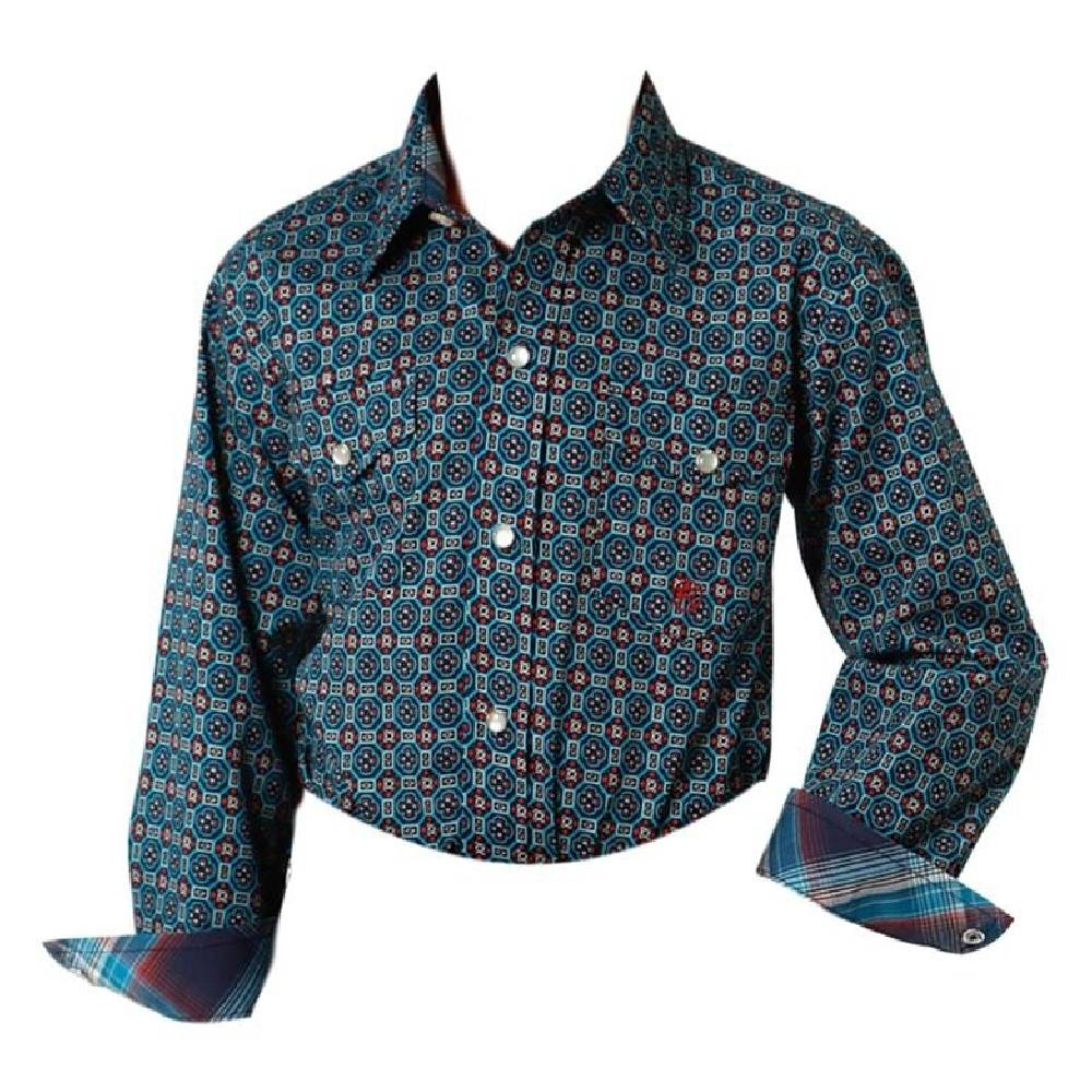 Roper Boys Printed Snap Up Shirt KIDS - Boys - Clothing - Shirts - Long Sleeve Shirts ROPER APPAREL & FOOTWEAR Teskeys