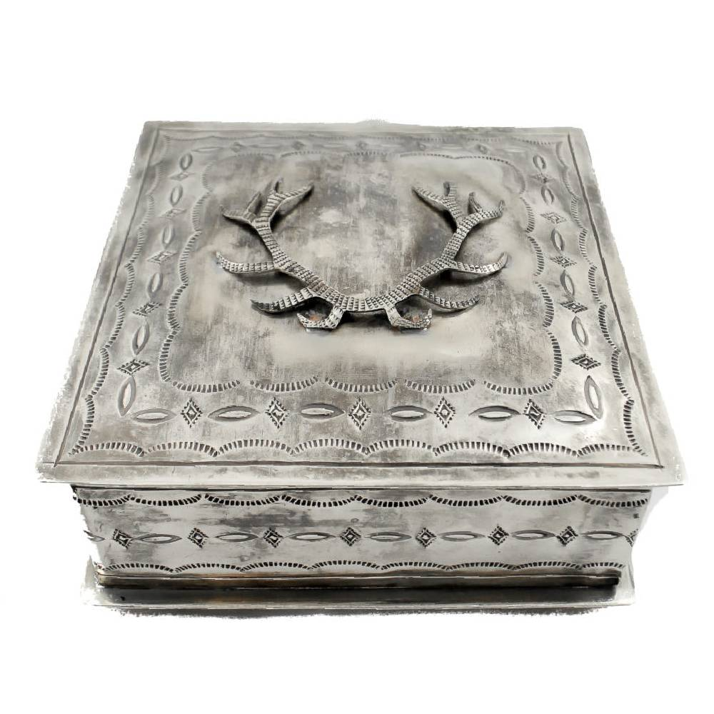 J. Alexander Stamped Box W/ Antlers HOME & GIFTS - Home Decor - Decorative Accents J. ALEXANDER RUSTIC SILVER Teskeys