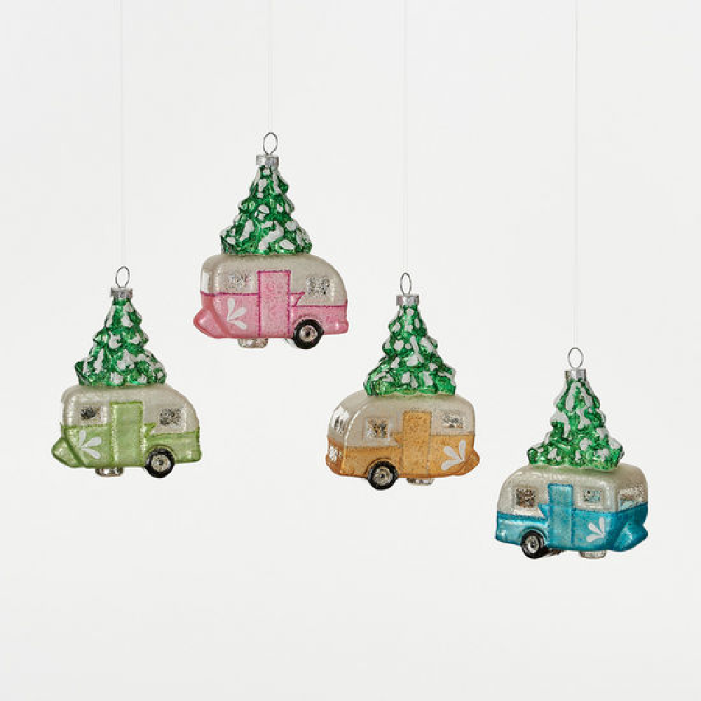 Camper with Tree Ornament-Multiple Colors HOME & GIFTS - Home Decor - Seasonal Decor ONE HUNDRED 80 DEGREES Teskeys