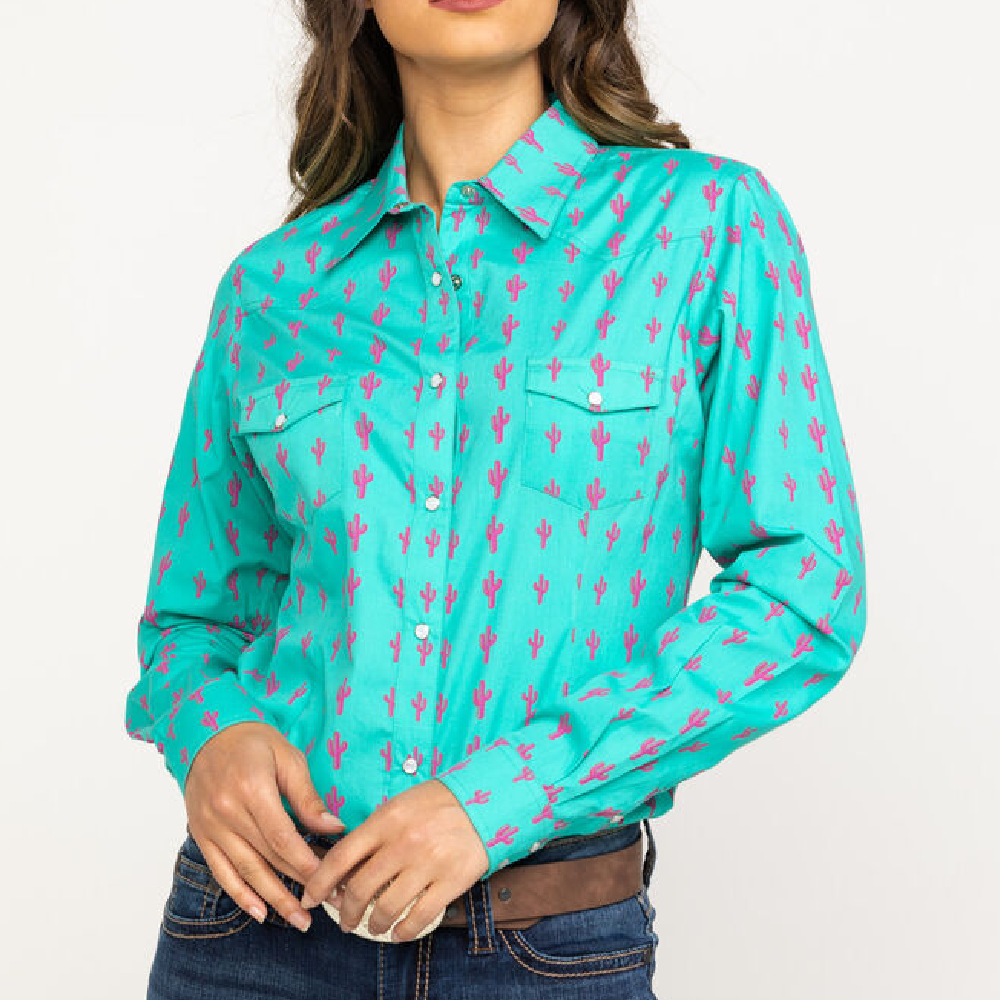 Panhandle Slim Cactus Print Button Up Shirt