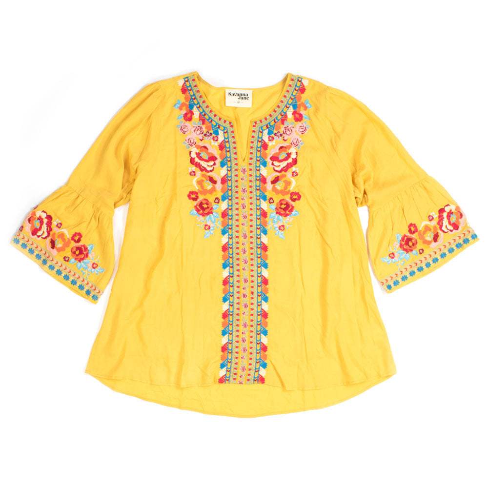 Marigold Embroidered Tunic WOMEN - Clothing - Tops - Tunics ANDREE BY UNIT FASHION Teskeys