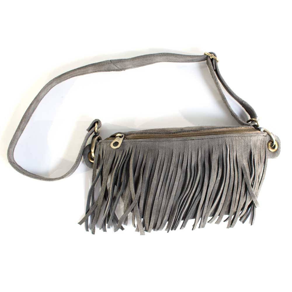 Grey Cala Suede Fannypack WOMEN - Accessories - Handbags - Clutches & Pouches PAMELA V. Teskeys