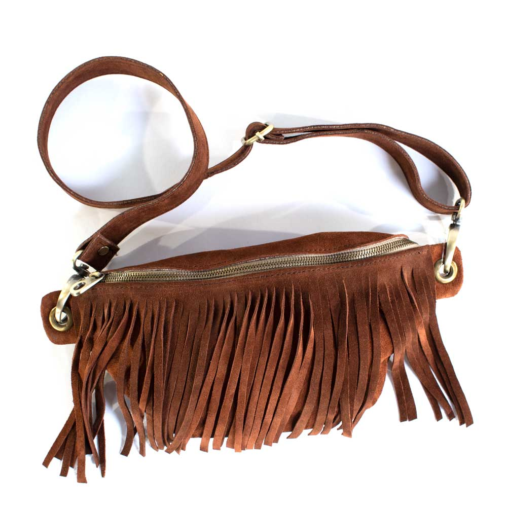 Brown Cala Suede Fannypack WOMEN - Accessories - Handbags - Clutches & Pouches PAMELA V. Teskeys