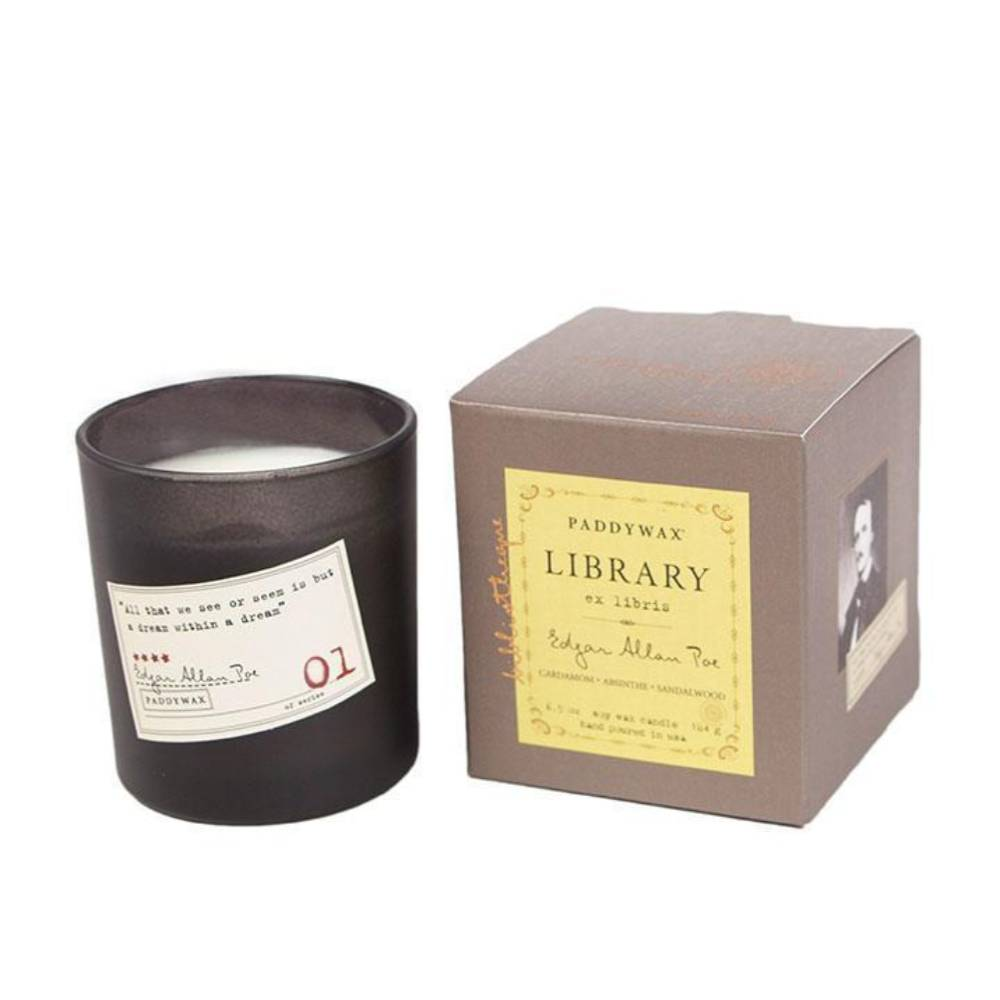 Paddywax 6oz Edgar Allen Poe Library Candle HOME & GIFTS - Home Decor - Candles + Diffusers Paddywax Teskeys