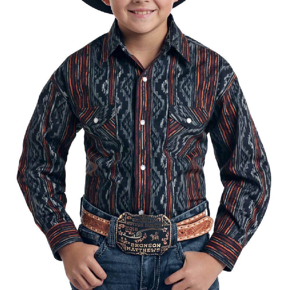 Panhandle Boy's Rough Stock Aztec Print Pearl Snap Shirt KIDS - Boys - Clothing - Shirts - Long Sleeve Shirts Panhandle Teskeys