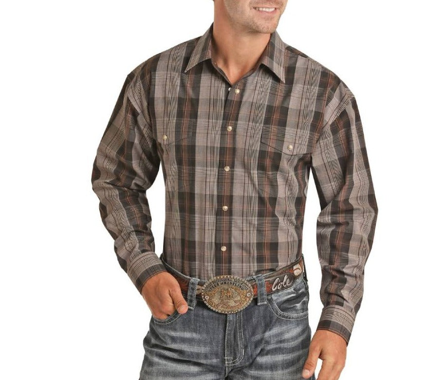 Panhandle Men's Cocoa Plaid Snap Shirt MEN - Clothing - Shirts - Long Sleeve Shirts Panhandle Teskeys