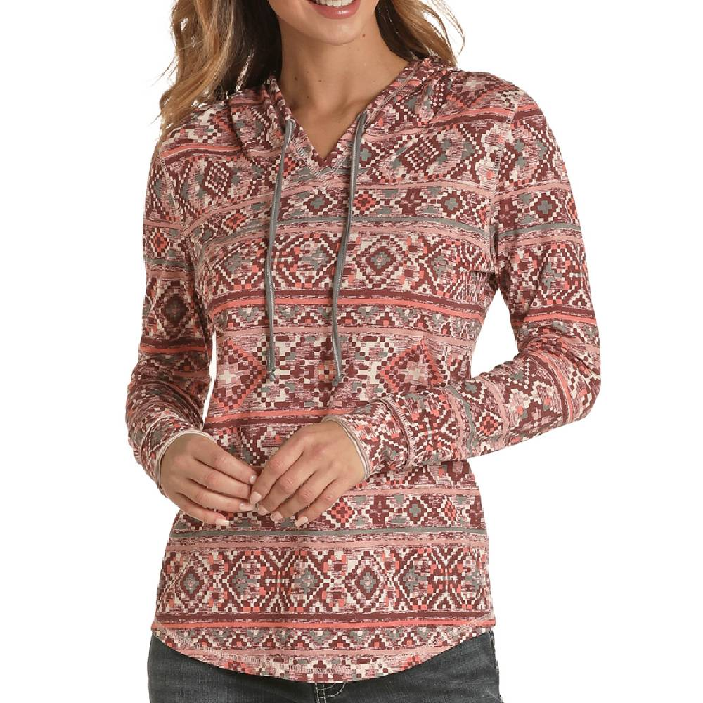 Women's Dusty Rose Aztec Hoodie WOMEN - Clothing - Sweatshirts & Hoodies Panhandle Teskeys