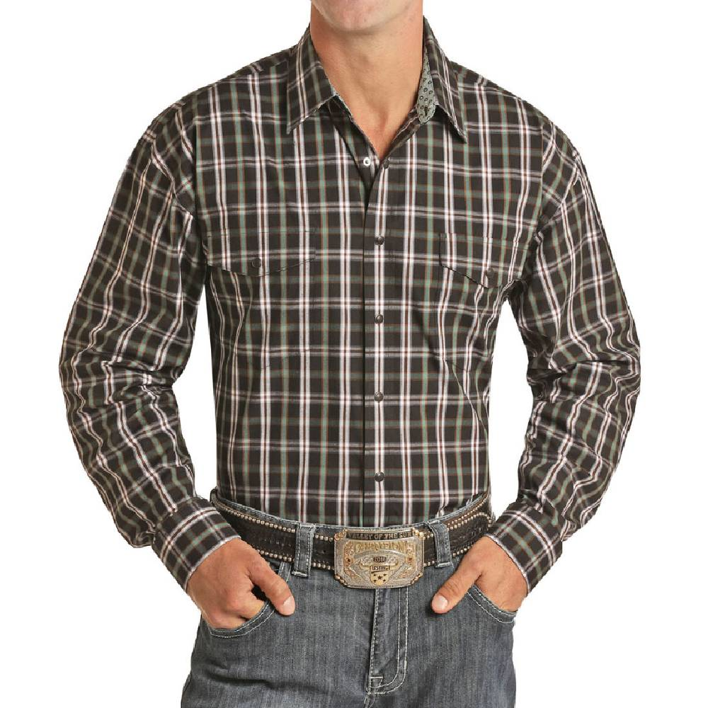 Panhandle Men's Jade & Black Plaid Button Down Shirt MEN - Clothing - Shirts - Long Sleeve Shirts Panhandle Teskeys