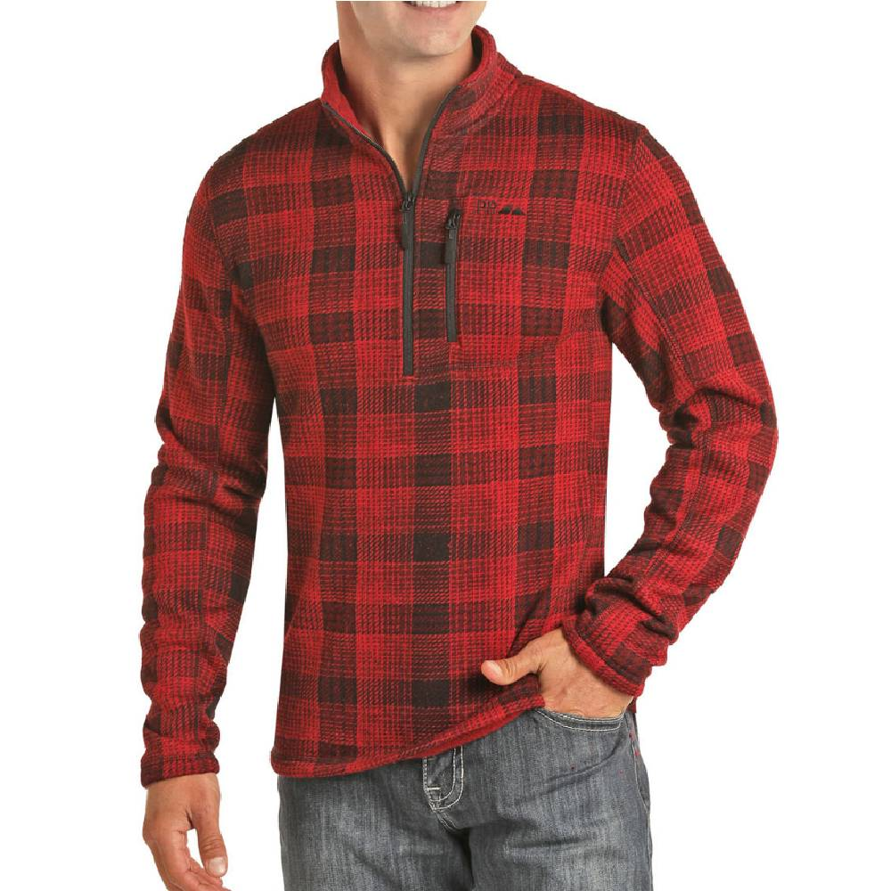 Powder River 1/4 Zip Plaid Fleece Pullover MEN - Clothing - Pullovers & Hoodies Panhandle Teskeys