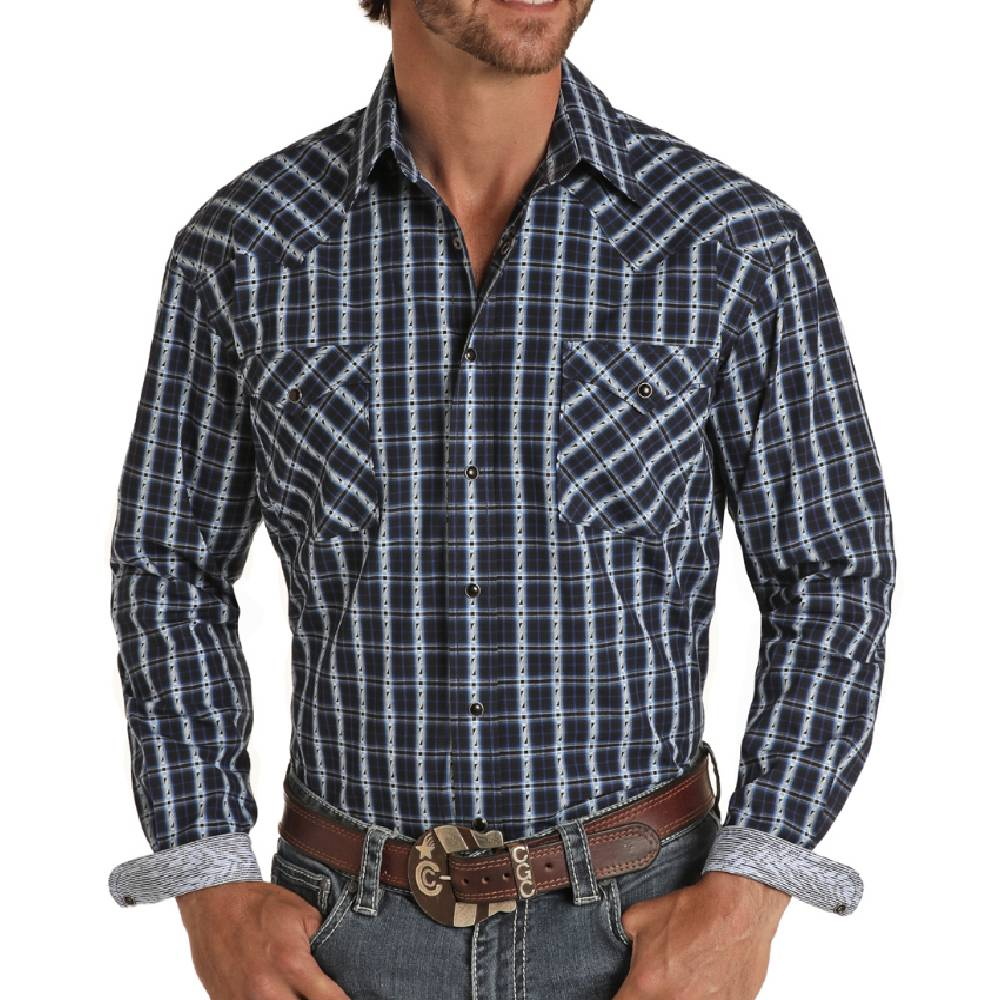 Panhandle Rough Stock Indigo Jacquard Plaid Snap Shirt MEN - Clothing - Shirts - Long Sleeve Shirts Panhandle Teskeys