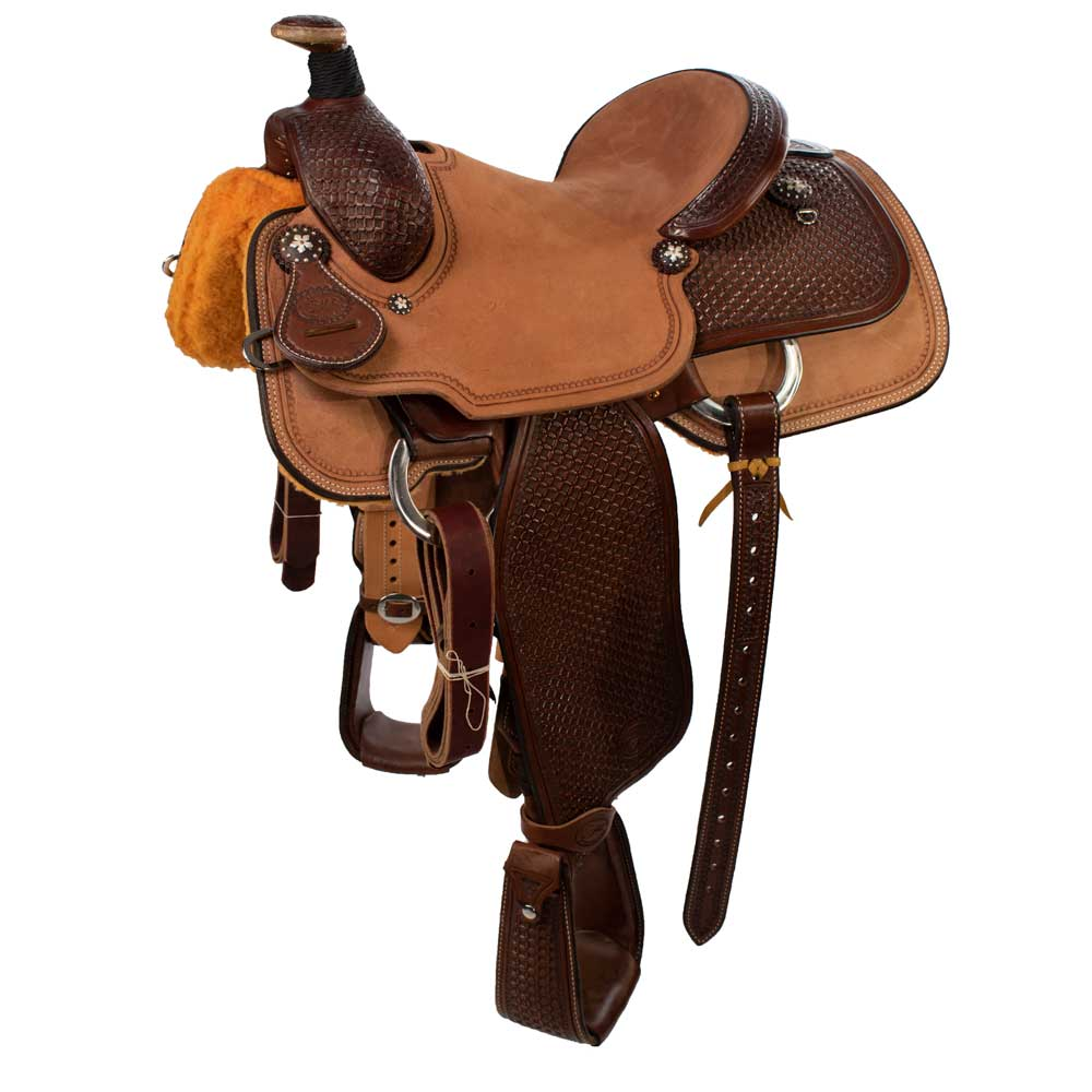 Patrick Smith Two-Tone Waffle Roper Saddle Saddles - New Saddles - ROPER Patrick Smith Teskeys