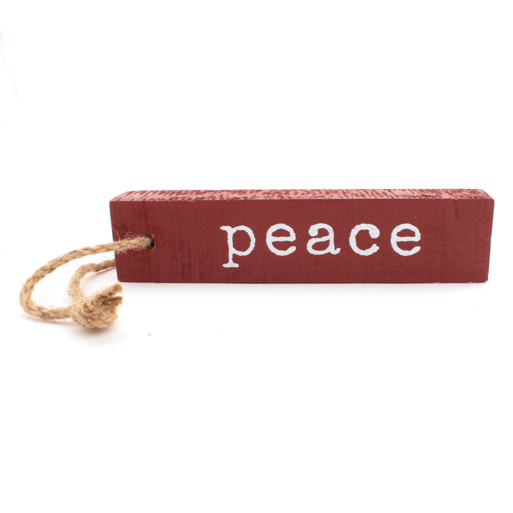"Rectangle 8"" Wood Christmas Ornament - Peace HOME & GIFTS - Home Decor - Seasonal Decor Creative Co-Op Teskeys"