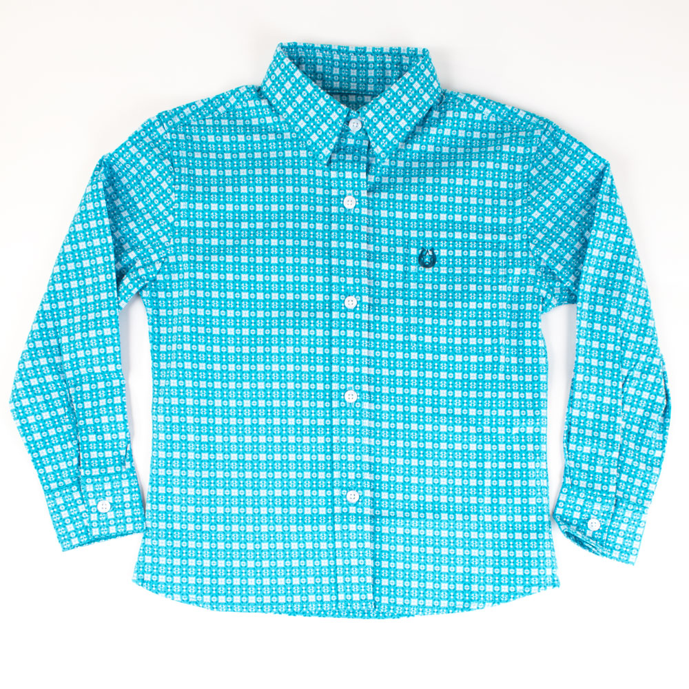 Panhandle Girls Long Sleeve Button-Up Top - Bright Turquoise KIDS - Girls - Clothing - Tops - Long Sleeve Tops Panhandle Teskeys