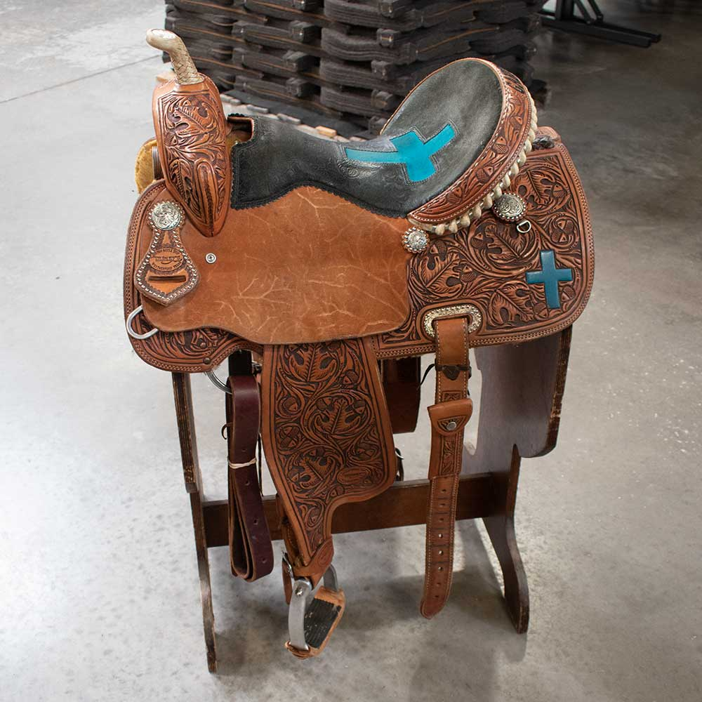 "15"" USED TESKEY'S BARREL SADDLE Saddles - Used Saddles - BARREL TESKEY'S Teskeys"
