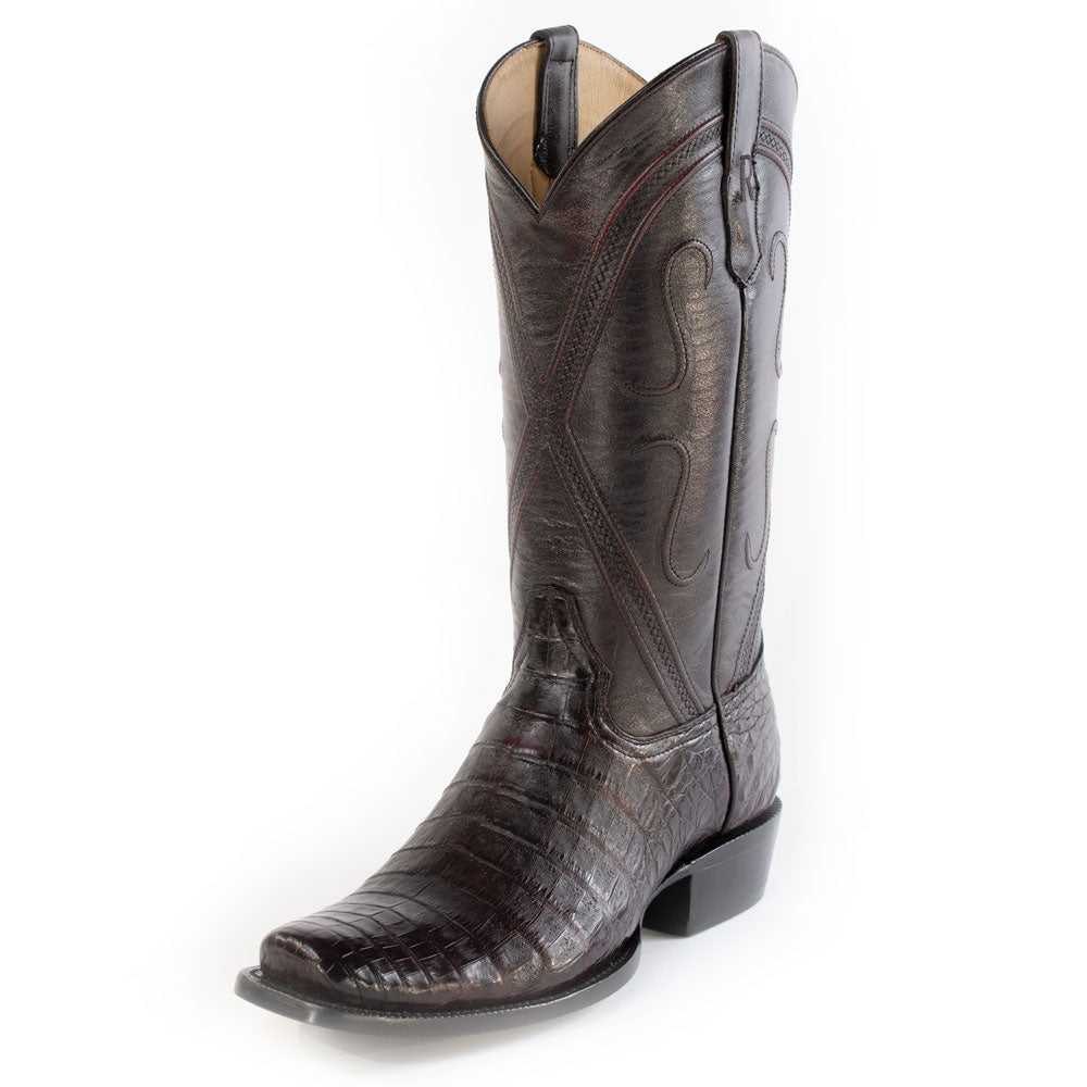 R. Watson Black Cherry Caiman Belly Boot MEN - Footwear - Exotic Western Boots R WATSON Teskeys