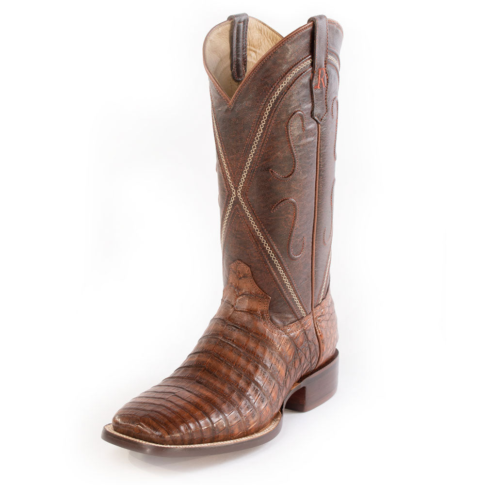 R. Watson Antique Cognac Caiman Belly Boot MEN - Footwear - Exotic Western Boots R WATSON Teskeys