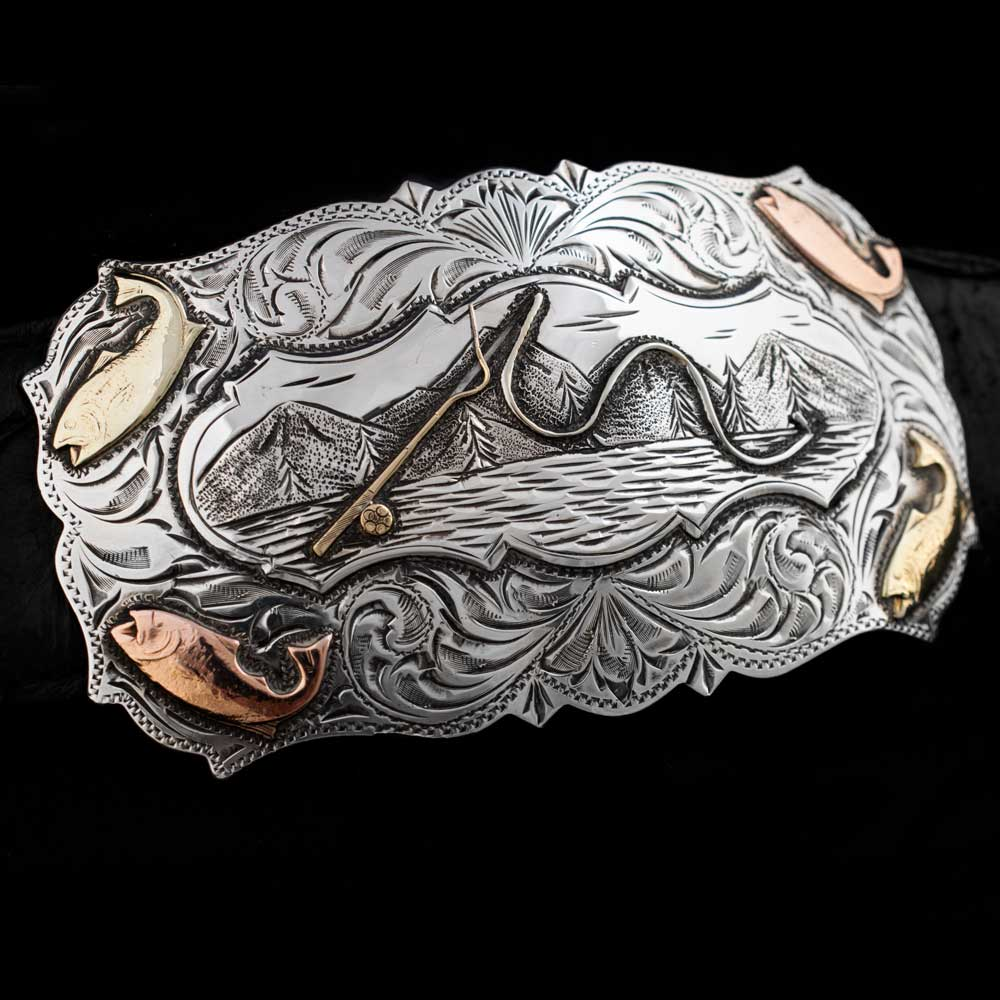 Comstock Heritage Scalloped Edge Rainbow Trout Trophy Buckle ACCESSORIES - Additional Accessories - Buckles COMSTOCK HERITAGE Teskeys