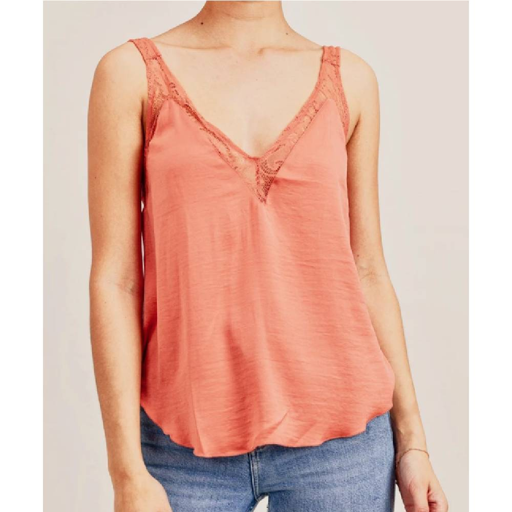 Womens Eden V-Neck Floral Tank - Tangerine WOMEN - Clothing - Tops - Sleeveless Reset By Jane Teskeys