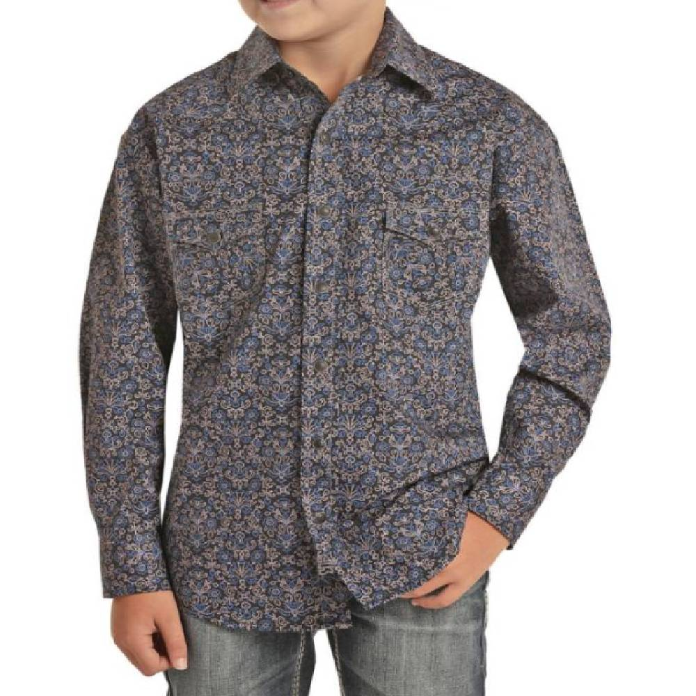 Rock & Roll Denim Boy's Snap Shirt with Abstract Print - Medium KIDS - Boys - Clothing - Shirts - Long Sleeve Shirts Panhandle Teskeys