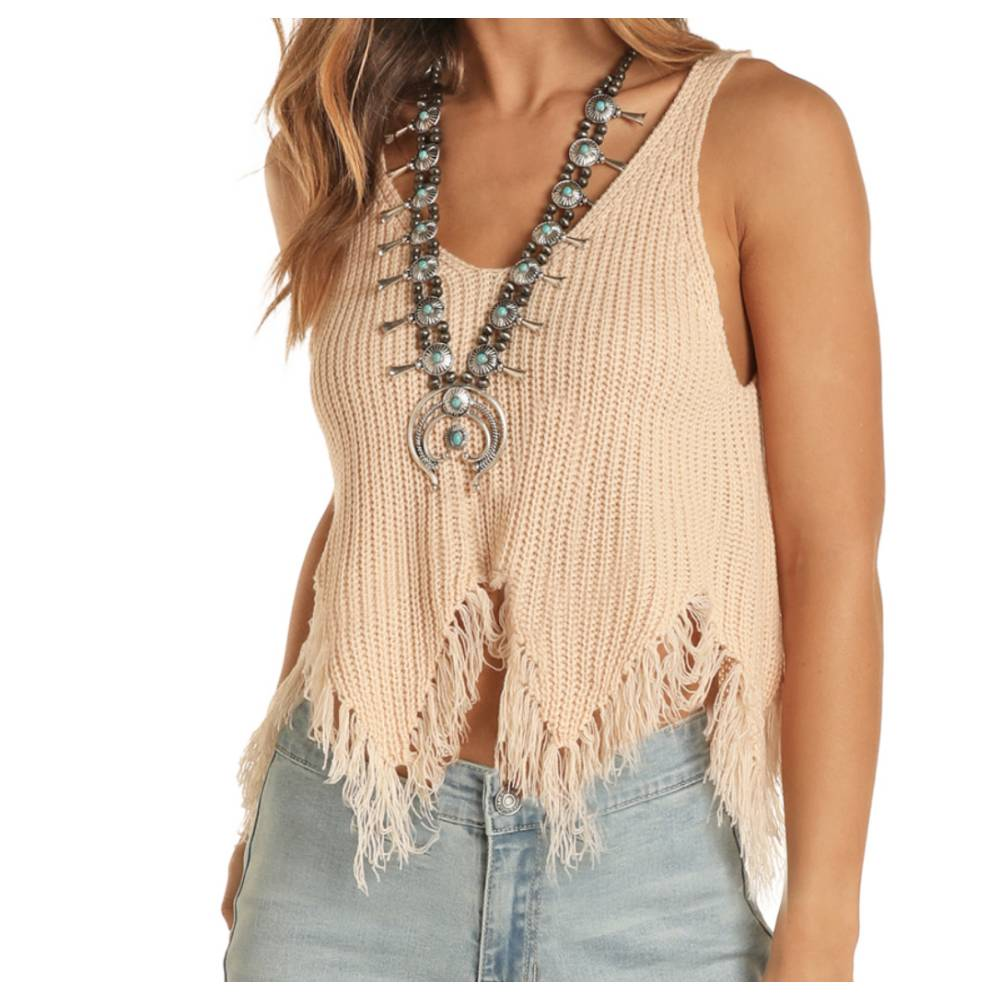 Rock & Roll Denim Blush Knit Tank
