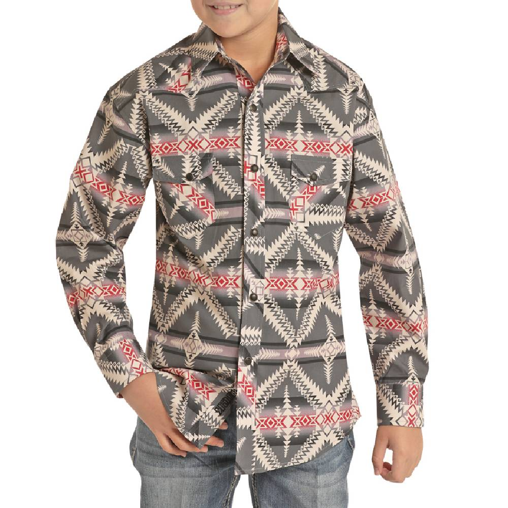 Rock & Roll Denim Boy's Charcoal Aztec Snap Shirt KIDS - Boys - Clothing - Shirts - Long Sleeve Shirts Panhandle Teskeys