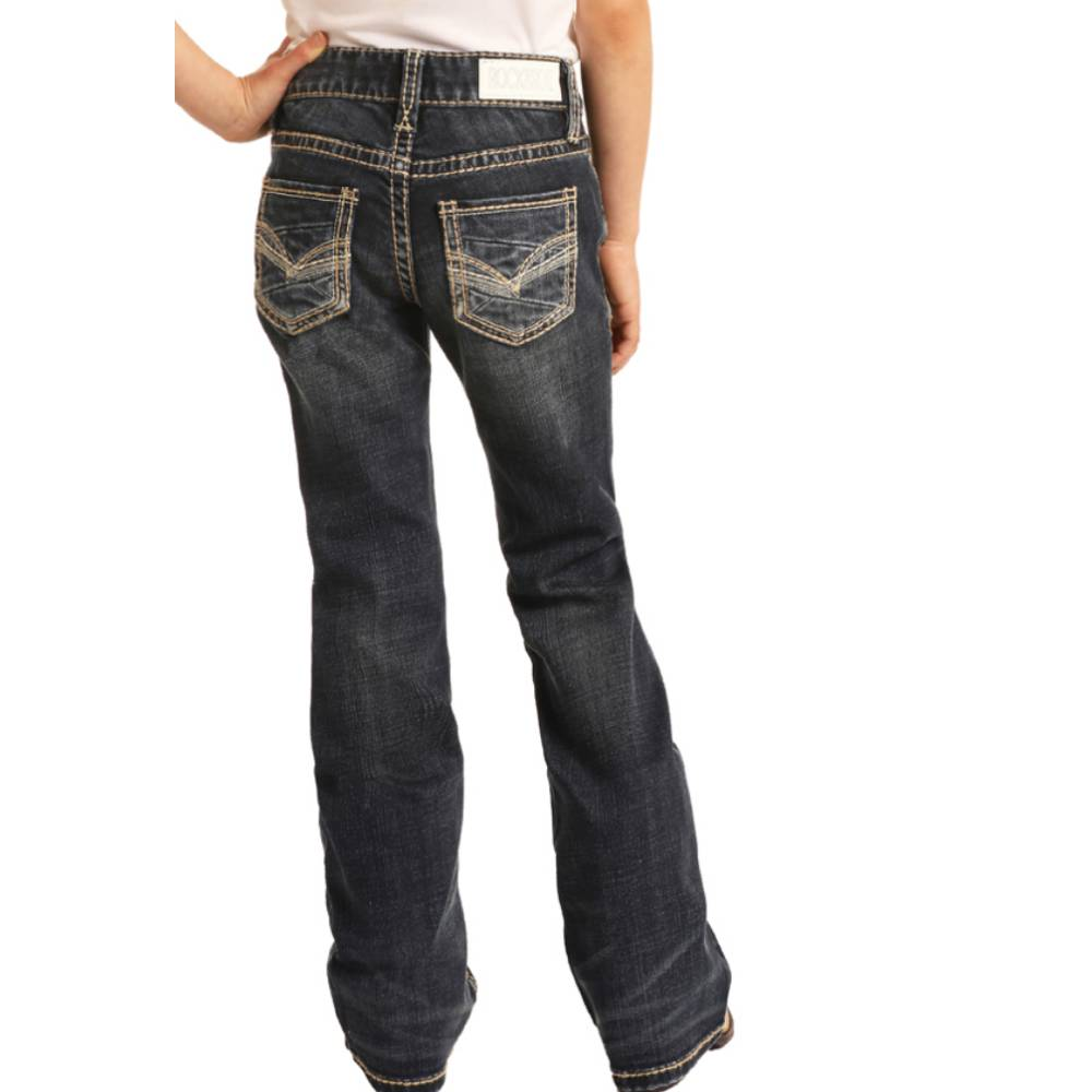 Rock & Roll Denim Girl's Boot Cut Jean - Dark Wash KIDS - Girls - Clothing - Jeans Panhandle Teskeys
