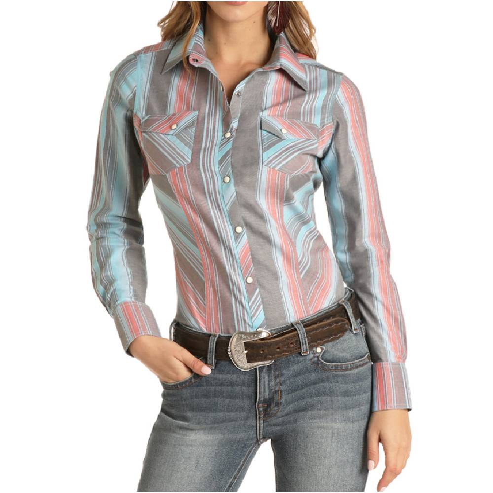 Rock & Roll Denim Turquoise Multi Stripe Pearl Snap Shirt WOMEN - Clothing - Tops - Long Sleeved Panhandle Teskeys