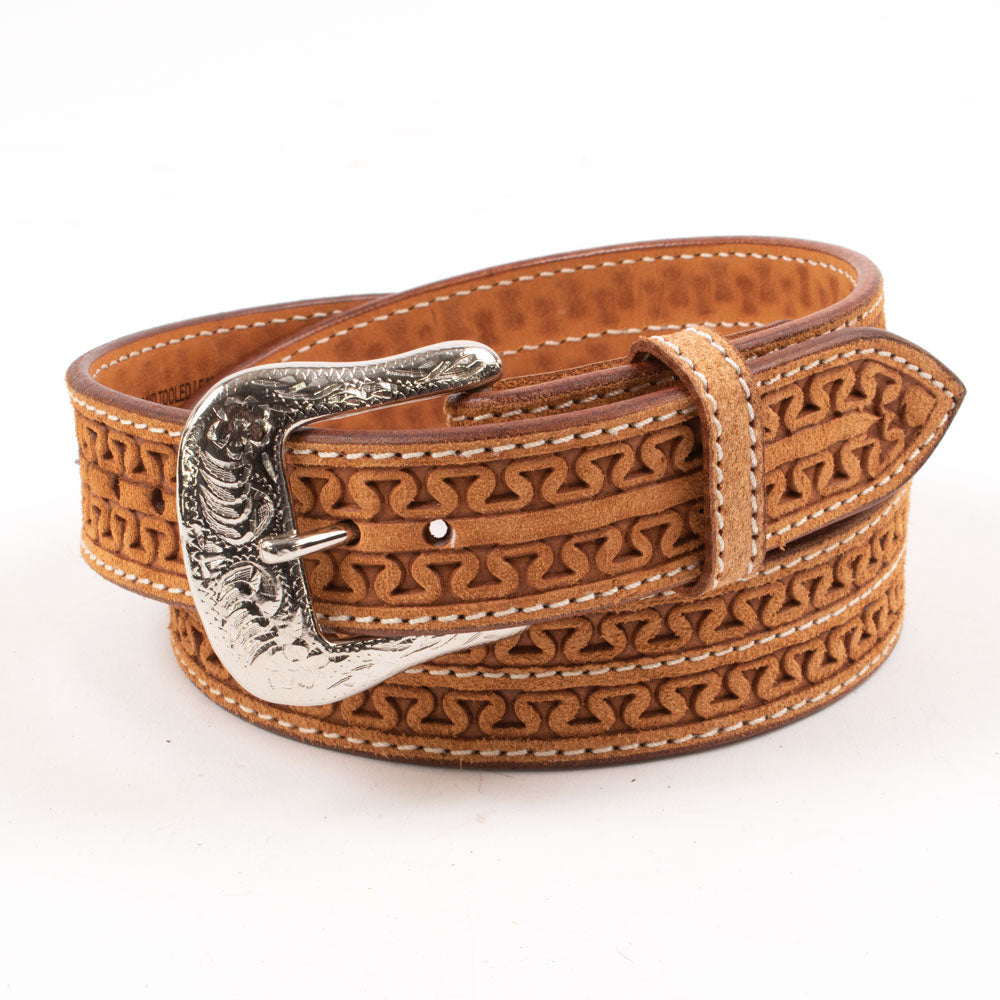 Kids Red Lodge Roughout Leather Running W Hand-Tooled Belt KIDS - Accessories - Belts Beddo Mountain Leather Goods Teskeys