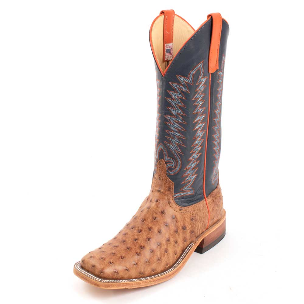 Anderson Bean Full Quill Ostrich Brandy Bruciato Boot MEN - Footwear - Exotic Western Boots ANDERSON BEAN BOOT CO. Teskeys
