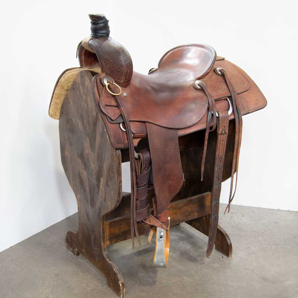 "17"" USED JEFF SMITH COWBOY COLLECTION RANCH CUTTING SADDLE"