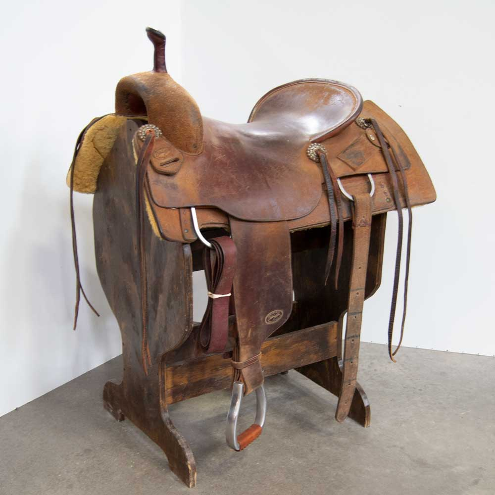 "18.5"" USED CALVIN ALLEN CUTTING SADDLE Saddles - Used Saddles - CUTTER Calvin Allen Teskeys"