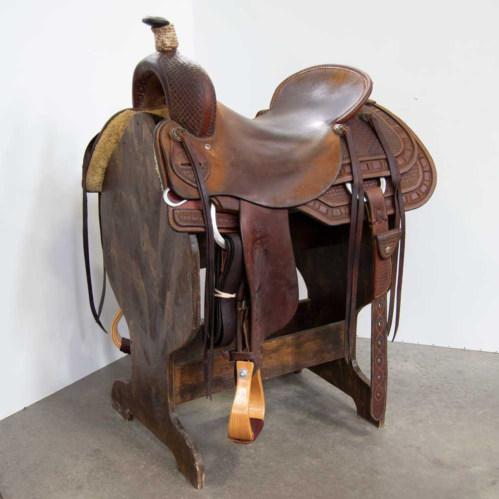 "17.5"" USED ROO HIDE RANCH CUTTING SADDLE Saddles - Used Saddles - RANCH CUTTER ROO HIDE Teskeys"