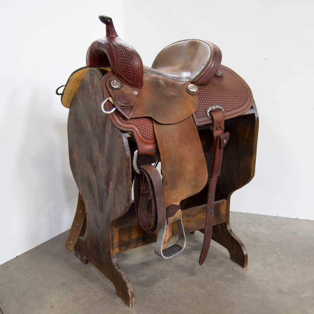 "13"" USED LARRY COATS BARREL SADDLE Saddles - Used Saddles - BARREL Larry Coats Teskeys"